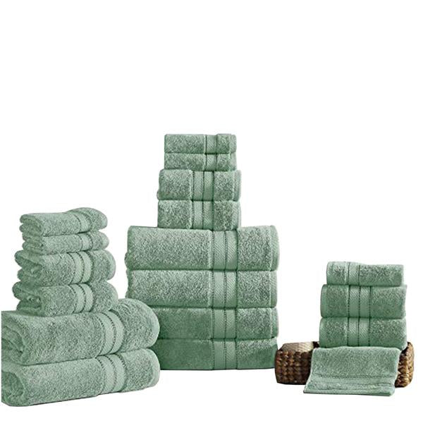 Bergamo 18 Piece Spun Loft Towel Set With Striped Pattern The Urban Port, Green