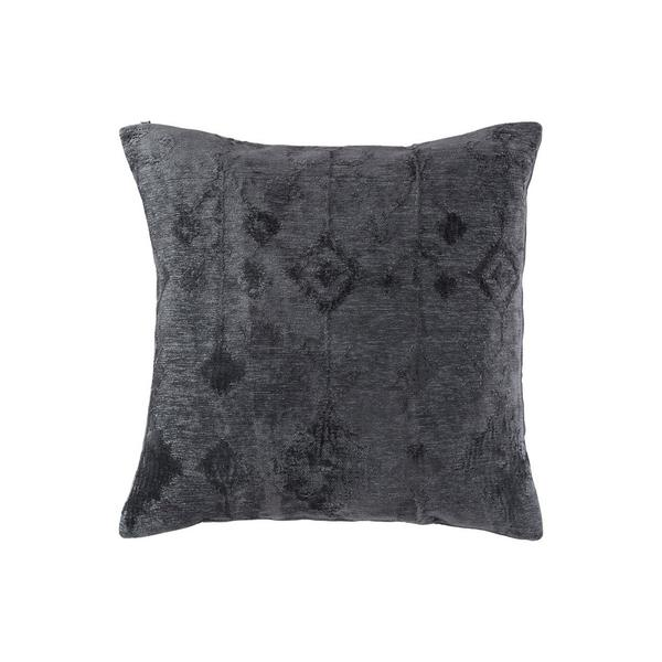 Accent Pillow With Ikat Pattern, Set Of 4, Slate Gray