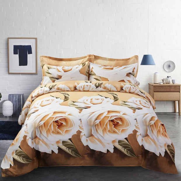 6 Piece Duvet Cover Set, Floral Bedding King& Queen size