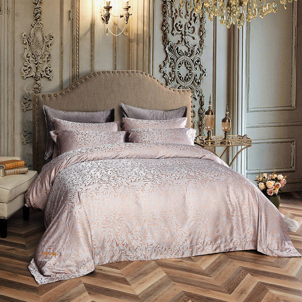6 Piece Luxury Duvet Cover Set Jacquard,  QUEEN