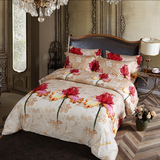 6 Piece Luxury Floral Duvet Cover Set, King & Queen Size