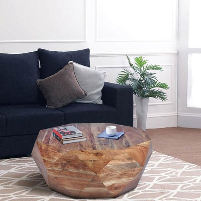 Diamond Shape Acacia Wood Coffee Table With Smooth Top, Natural Brown