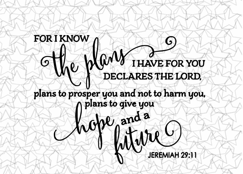 For I Know The Plans Jeremiah 29:11 Wall Sticker, Tattoo Décor for Living room, Entry Way, Bedroom, Church, Office Any room!