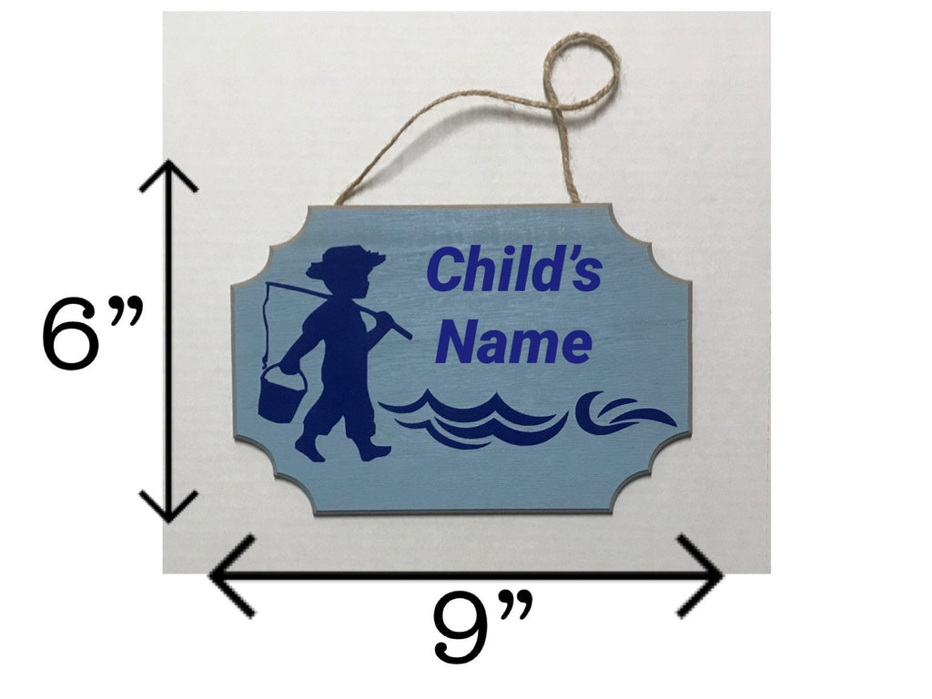 Custom Print Child's Name Plaque Little Boy Going Fishing with Fishing Pole and Water Pail Bucket