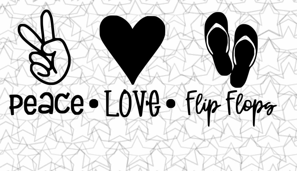 Peace, Love, Flip Flops Wall Art Decal Vinyl Sticker for Dorm Room, Any Room, Vehicles, Windows, Mirrors Varies Sizes