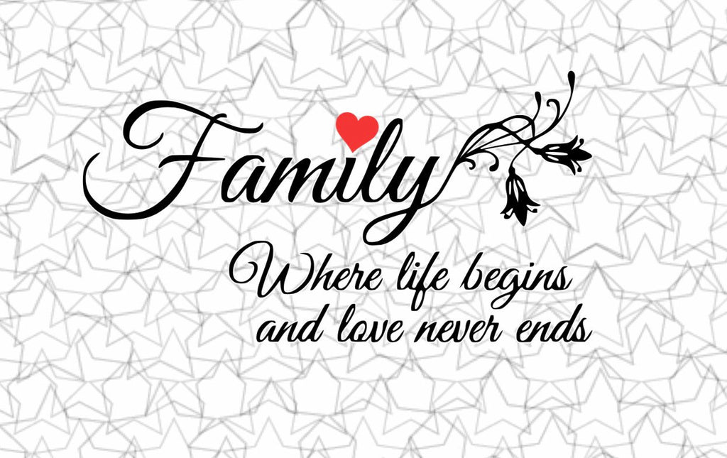 Family...where life begins and love never ends Wall Decal Vinyl Sticker Tattoo For Windows Glass with Size and Color Options