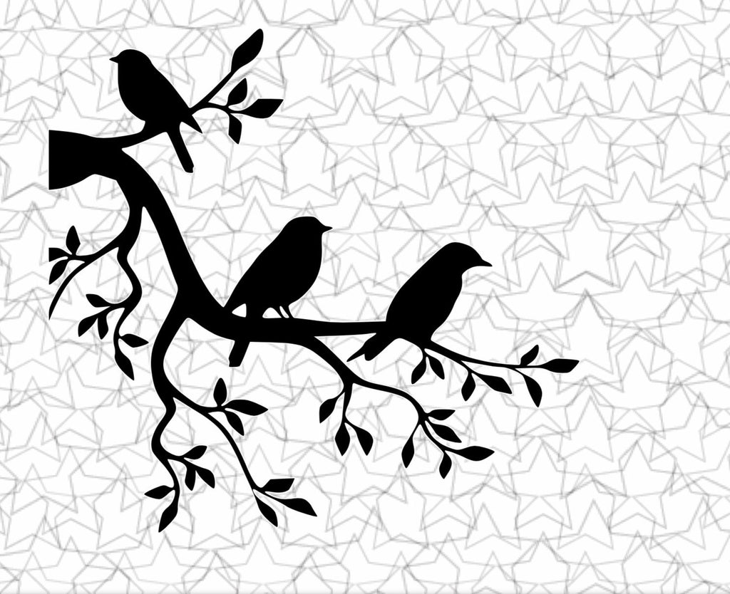 Three Little Birds on a Tree Branch Wall Decal Vinyl Sticker Tattoo For Windows Glass with Size and Color Options