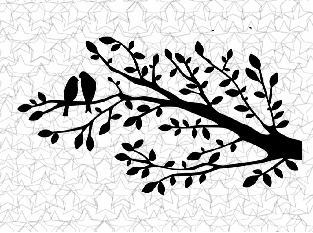 Two Little Love Birds on a Tree Branch Wall Decal Vinyl Sticker Tattoo For Windows Glass with Size Options