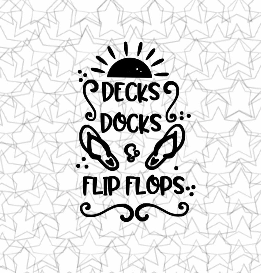 Decks Docks and Flip Flops Lake Beach House Wall Decal Vinyl Sticker Tattoo For Windows Glass Wall with Size and Color Options
