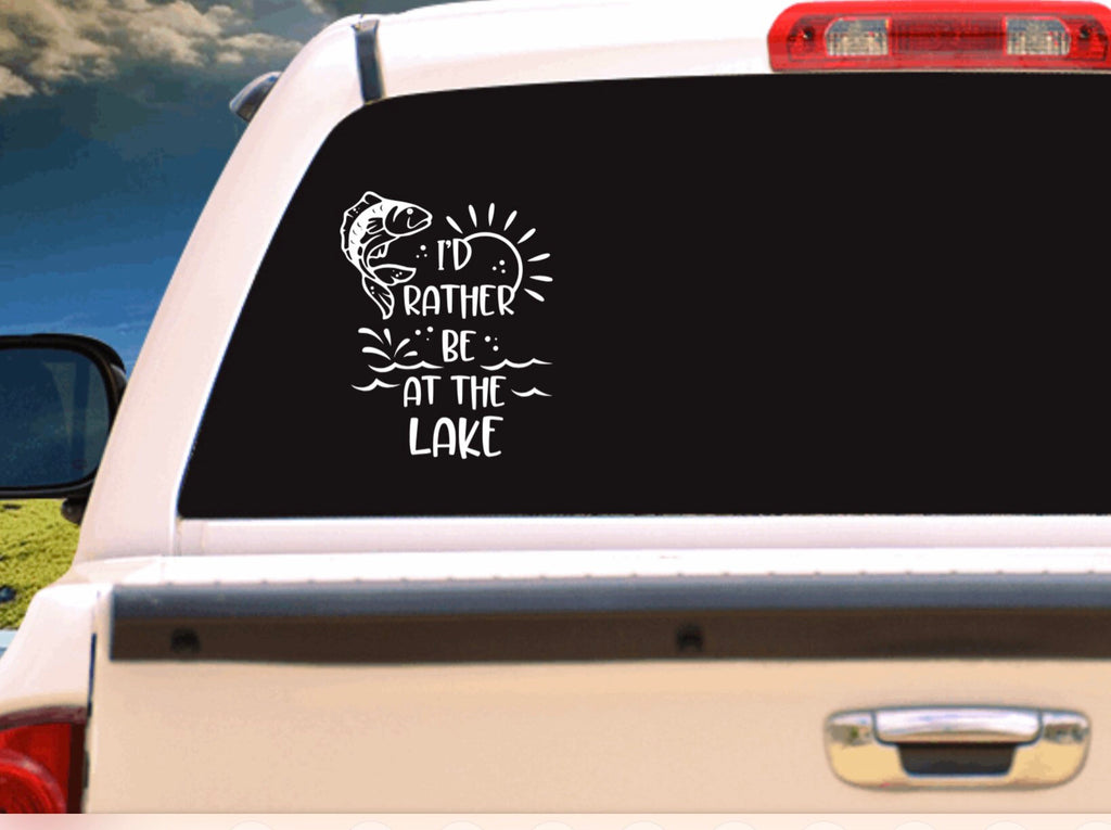 I'd Rather Be At The Lake Vehicle Window, Boat, Camper, Travel Trailer Decal, Sticker, Tattoo,