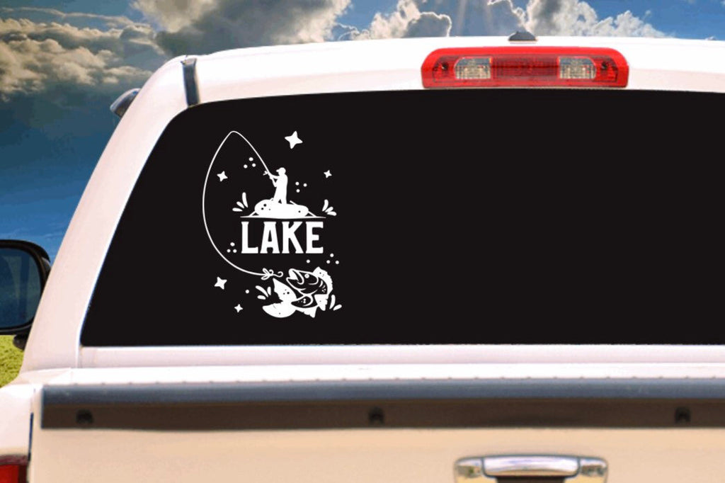 Lake Fishing Vehicle Window, Boat, Camper, Travel Trailer, Mirror Decal, Sticker, Tattoo,