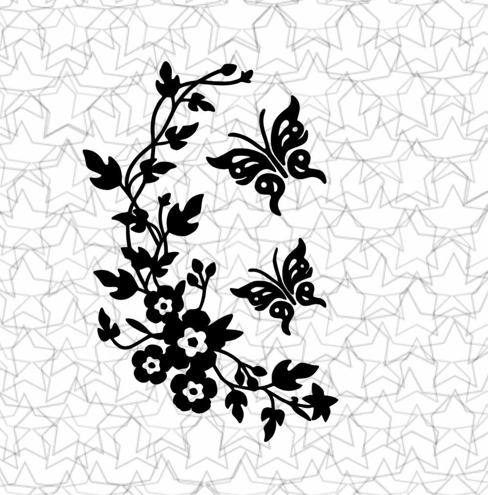 Flower Vine Branch with Butterflies Wall Decal Vinyl Sticker Tattoo For Windows Glass with Size Options