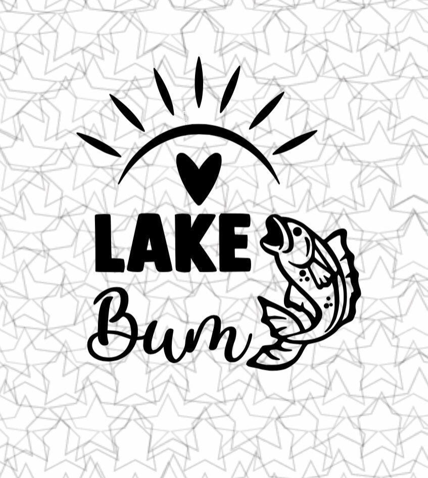 Lake Bum Lake Wall Decal Vinyl Sticker Tattoo For Windows Glass Wall with Size and Color Options