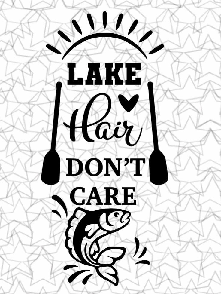 Lake Hair Don't Care Lake Beach House Wall Decal Vinyl Sticker Tattoo For Windows Glass Wall with Size and Color Options