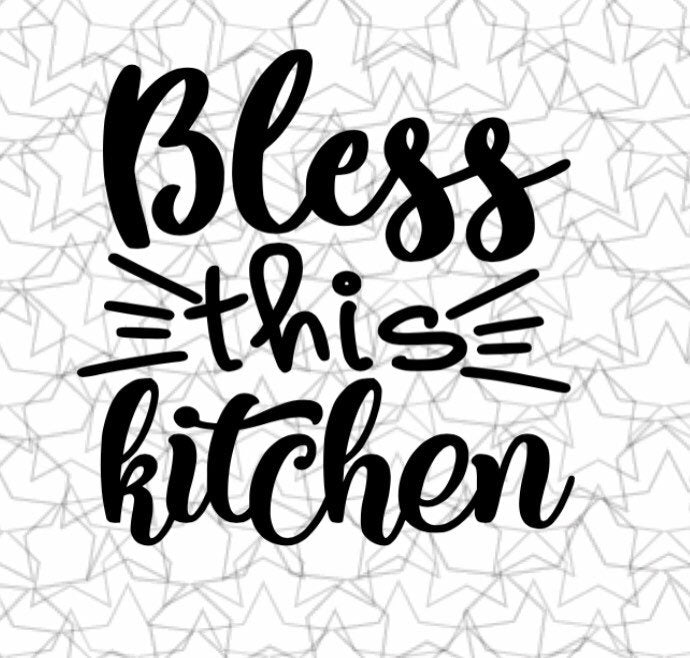 Bless This Kitchen Wall Decal Vinyl Sticker Tattoo For Windows Glass Wall with Size and Color Options