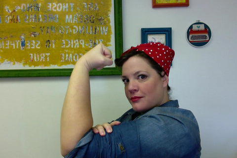 Nikki Dressed Up as Rosie the Riveter