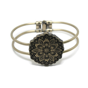 Mandala Hinged Cuff - Solid Color