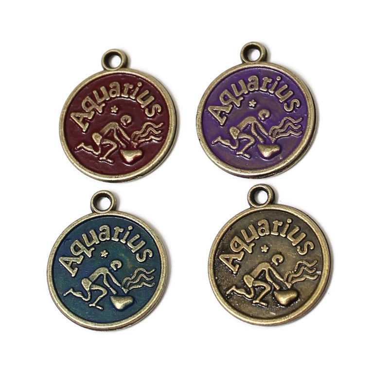 Zodiac Aquarius - Charm Bracelet, Necklace or Charm Only