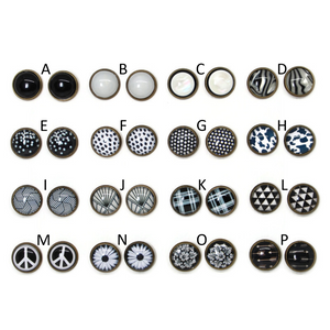Black and White Dome Earring Collection