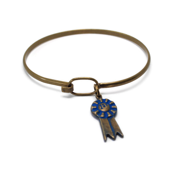 Blue Ribbon Necklace, Bracelet, or Charm Only