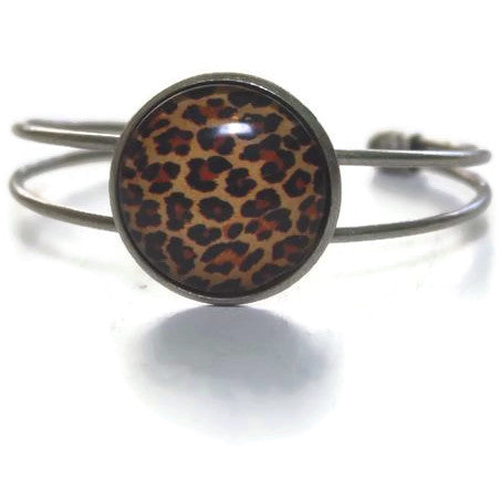 Cheetah Print Jewelry - Cuff Bracelet in Silver