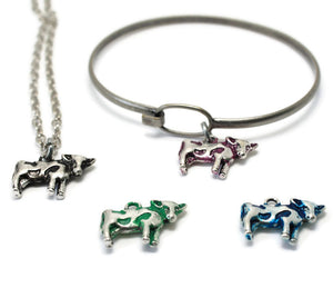 Silver Cow Charm: Bracelet, Necklace or Charm Only