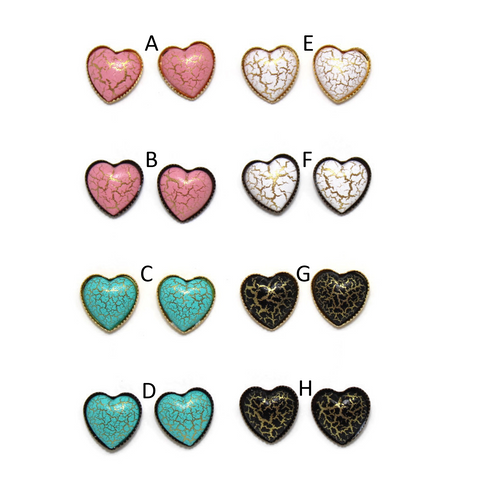 Crackle Heart Dome Earring Collection