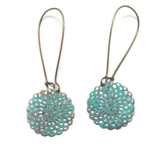 metal filigree doily earrings in turquoise