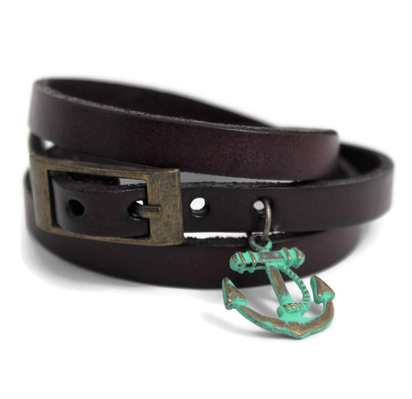 Leather Wrap Bracelets with Buckle