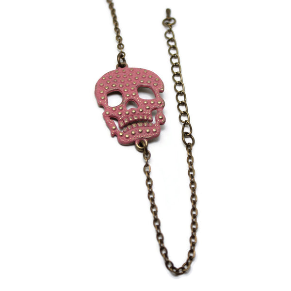 Dearly Departed Skull Dainty Chain Bracelet