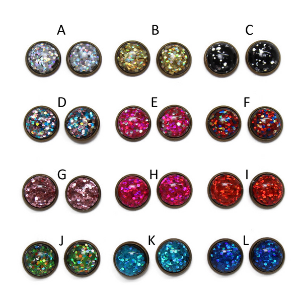 Glitter Bomb Dome Earring Collection - Bronze