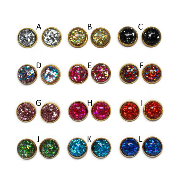 Glitter Bomb Dome Earring Collection - Gold Tone