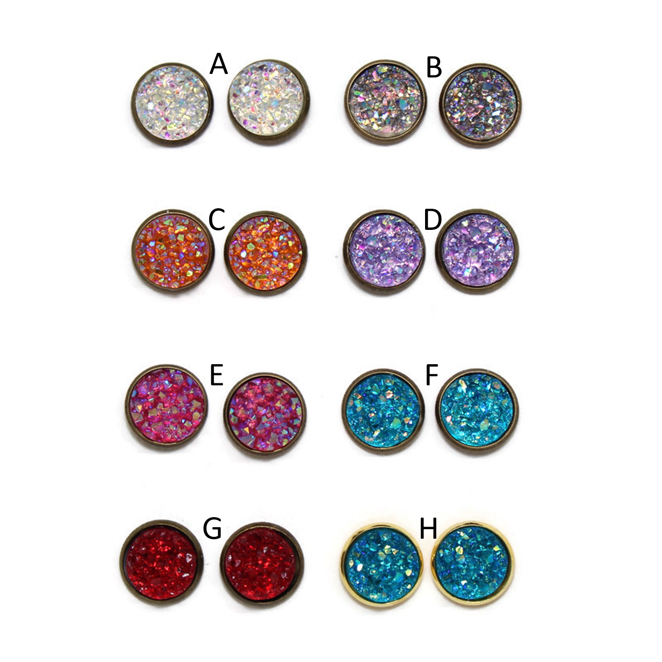 Glitz Dome Earring Collection - Jewel Tone
