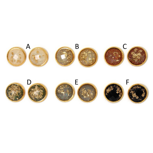 Gold Fleck Dome Earring Collection - Neutrals