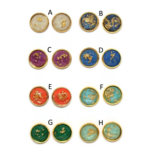 Gold Fleck Dome Earring Collection - Colors