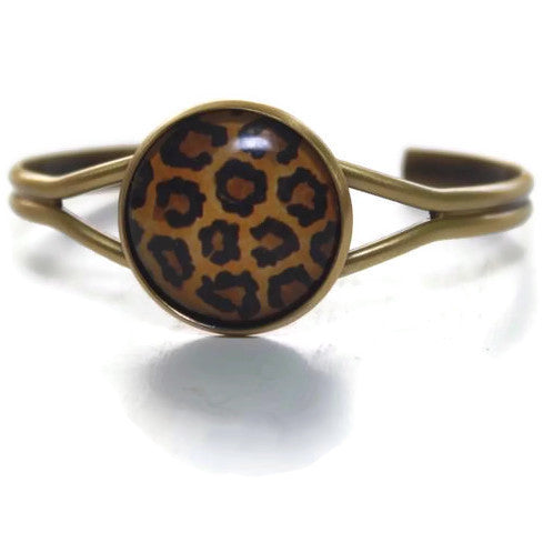 Cheetah Print Jewelry - Cuff Bracelet in Gold