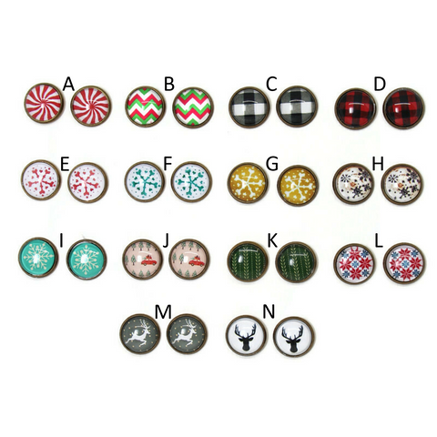 Winter Holiday Dome Earring Collection