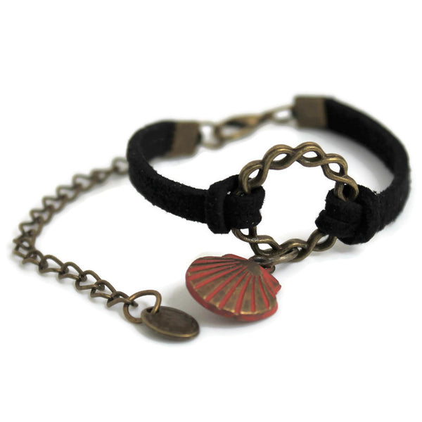 Bronze Circle Leather Bracelet