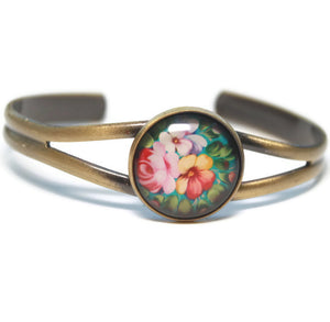 Yellow and Pink Floral Dome Cuff