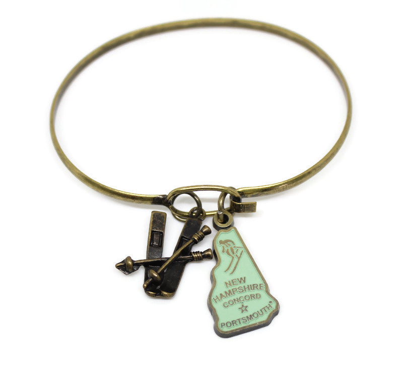 New Hampshire State 2 Charm Bracelet or Necklace