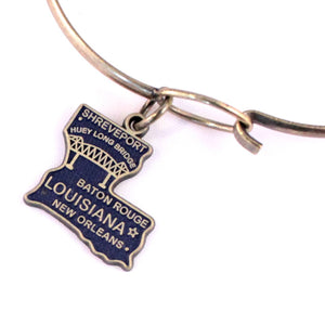 Louisiana State Charm Bracelet, Necklace, or Charm Only