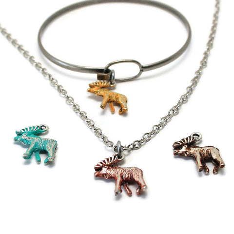 Silver Moose Charm: Bracelet, Necklace or Charm Only