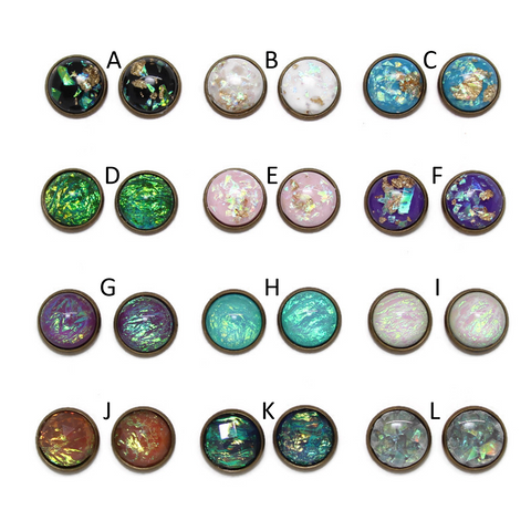 Opal Variety Dome Earring Collection - Bronze