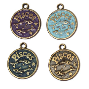 Zodiac Pisces - Charm Bracelet, Necklace or Charm Only