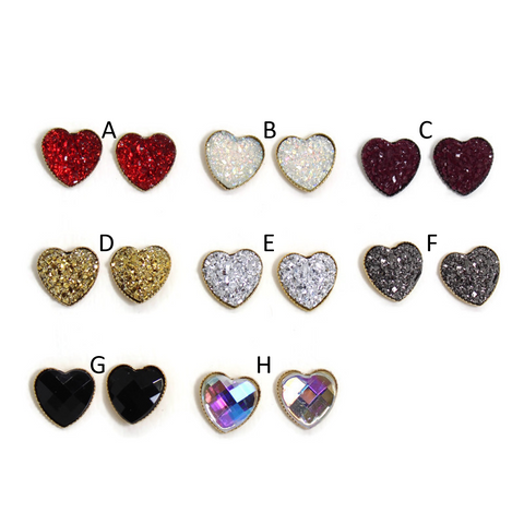 Sparkle Heart Dome Earring Collection