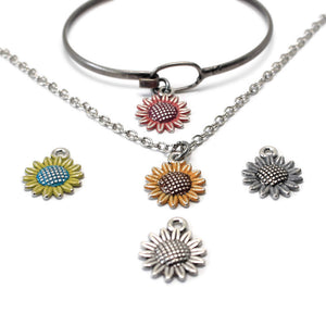 Silver Sunflower Charm: Bracelet, Necklace or Charm Only