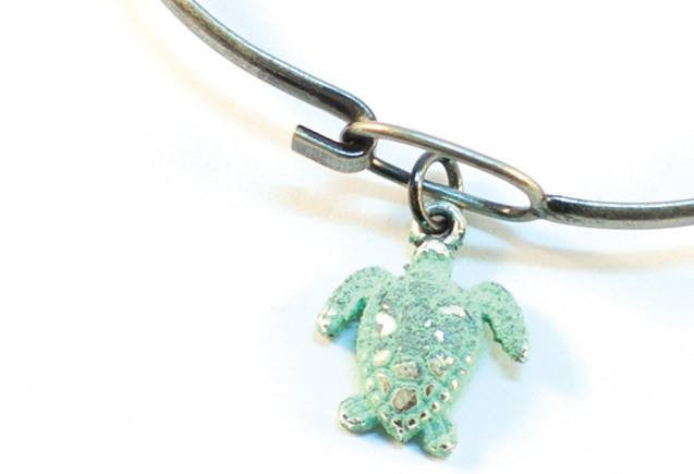 Silver Turtle Charm Bracelet or Necklace