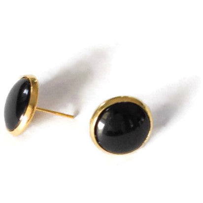 Black Stud Earring - Your choice of metal
