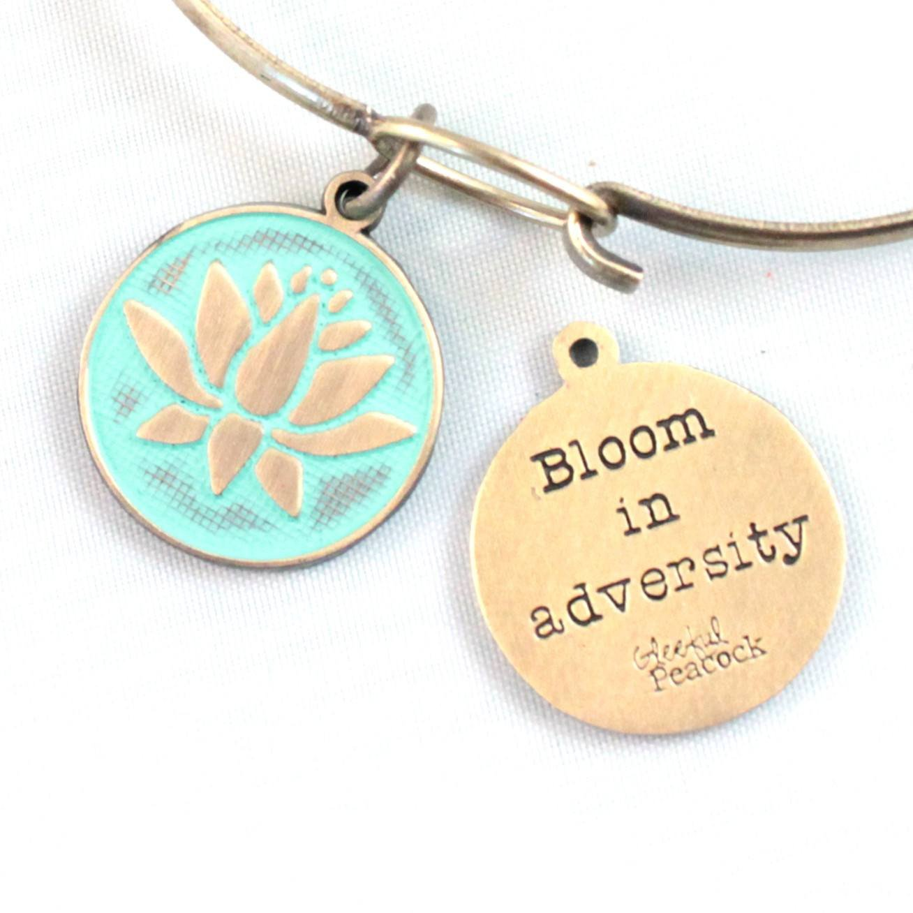 Bloom In Adversity Token Charm Bracelet, Necklace, or Charm Only