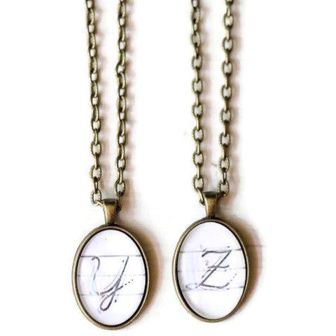 Cursive Initial Dome Necklace